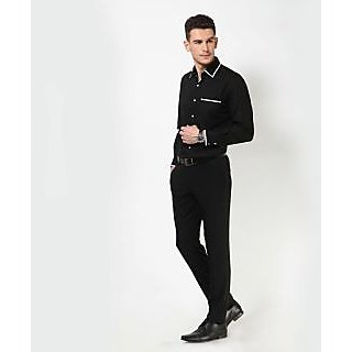 Dazzio Men's Black Smart Casual Shirt
