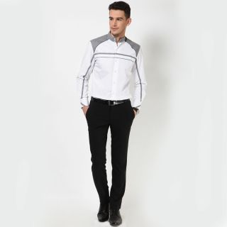 Dazzio Men's White Smart Casual Shirt