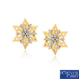 Certified Natural 0.19ct Diamond Earring Set 14K Hallmarked Gold Stud ER-0094