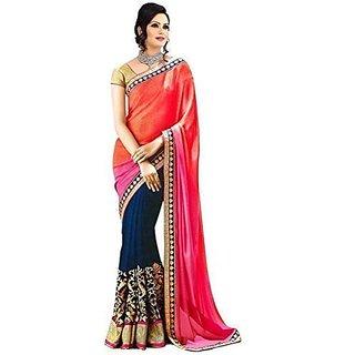 Womens Chiffon Saree (JNE0655.D Multi-Coloured)