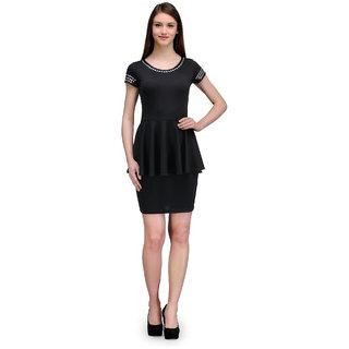 The Gud Look Black Polyester Plain Dress