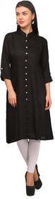 Shop Rajasthan Black Rayon Regular Kurti For Women