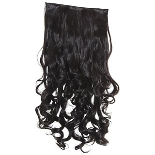 Womens Half hi quality Synthetic hair extn curlly black HT3