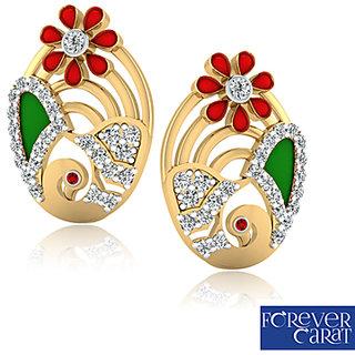 0.31ct Natural Diamond Earring Set 14k Hallmark Gold Enamel Painted Stud ER-0129