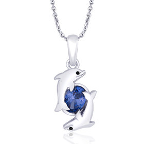 Taraash 925 Sterling Silver CZ With Dual Dolphin Pendant For Women PD1741R