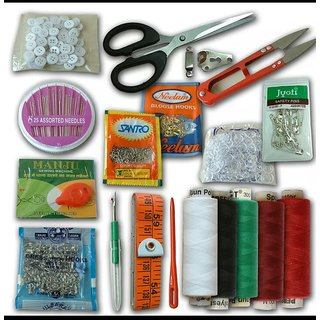 PACK OF 15 EMERGENCY TRAVEL SEWING KIT NEEDLES BUTTONS CUTTER TAILOR TAP THREADS.