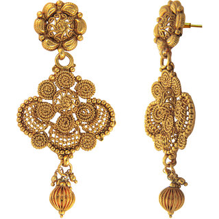 Traditional Ethnic Floral Spiral Mesh Gold Plated Dangler Earrings for Women by Donna ER30128G