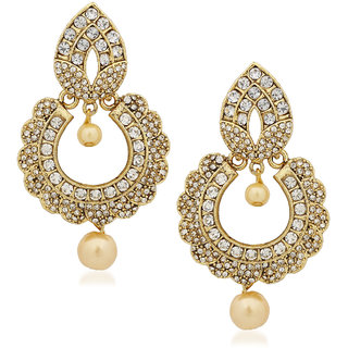 Kundan Pearl Jhumka Earrings For Women S In Traditional Ethnic Gold Plated Earings By Meenaz J127