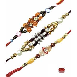 Variety Colored Stone  Beads Rakhi Set of 3