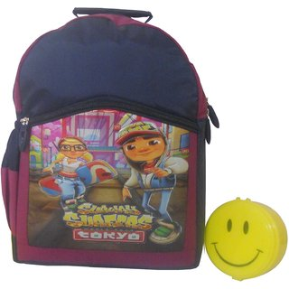 Donex Nylon Water Resistance Multicolor Subway Surfer School Bag with free Lunch Box 1235