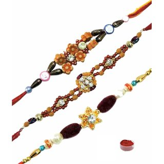 Choicest Set of 3 Swastik  Fancy Rakhis