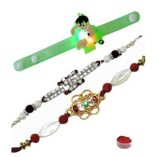 Extraordinary Set of 3 Kids  Fancy Rakhi