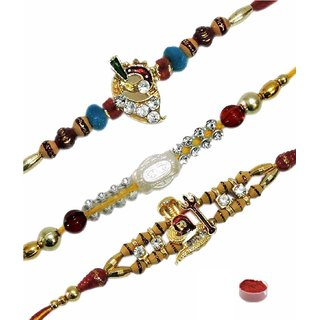 Trendy Set of 3 Fancy Rakhis