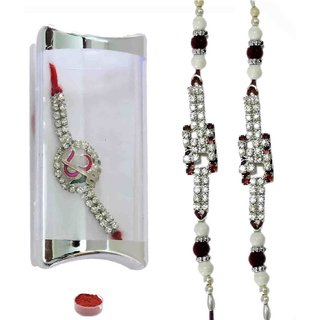 Eye-Catching Set of Three American Diamond Bracelet Rakhis
