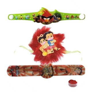 Trendy Set of 3 Kids Character Rakhi  Watch Rakhi