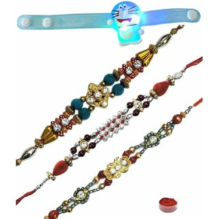 Incredibly Smart Set of 4 Kids  Fancy Rakhis