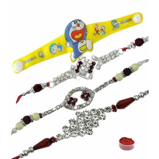 Sparkling Set of 4 Kids  Bhaiya Rakhis