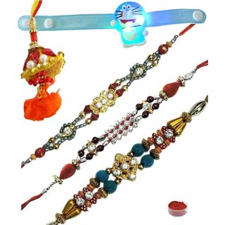 Opulent Set of 5 Kids  Fancy Rakhi Lumba
