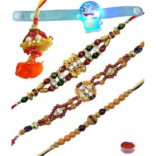 Enticing Set of 5 Kids  Fancy Rakhi Lumba