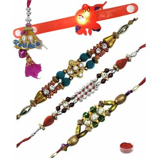 Magnificent Set of 5 Kids  Fancy Rakhi Lumba