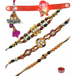 Fashionable Set of 5 Kids  Fancy Rakhi Lumba
