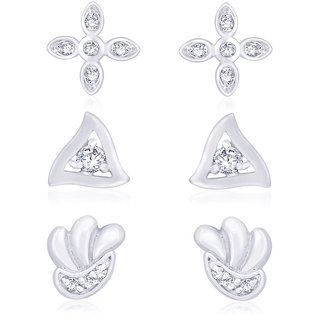 4ce9423c7 Buy Taraash 925 Silver CZ Triangle, Shell Floral Shape Earrings Combo  CBER194I-002 Online @ ₹1359 from ShopClues