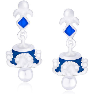 Taraash 925 Silver Blue Color Enamel Kite Shape Jhumki Earrings For Womens CBJH020I-04