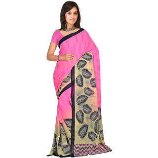4acfd4b31d Buy Shopeezo Daily Wear Baby Pink Color Dani Georgette Saree/Sari ...