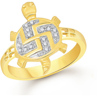Meenaz Gold Plated American Diamond Cz Ring For Women.