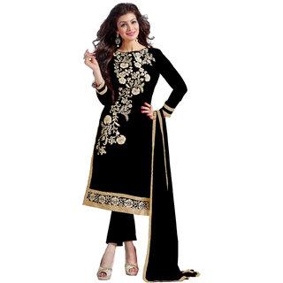 VivelS Black Colour Chanderi Dress Material