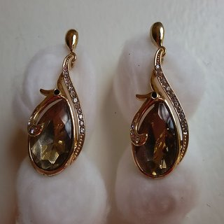 Light Brown Teardrop Crystal Earrings