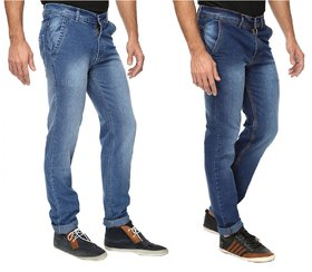Wajbee Mens Blue Color Stretchable Jeans-Pack of 2