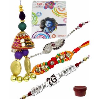 Magnificent Set of 5 Kids  Fashionable Rakhi Lumba