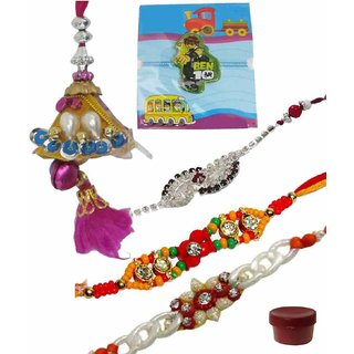 Fascinating Set of 5 Kids  Fashionable Rakhi Lumba