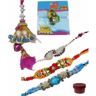 Classically Styled Set of 5 Kids  Fashionable Rakhi Lumba