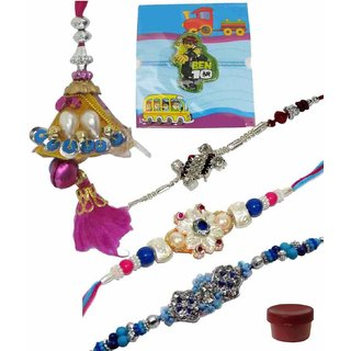 Smart Set of 5 Kids  Fashionable Rakhi Lumba