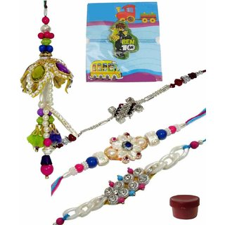 Stylish Set of 5 Kids  Bhaiya Bhabhi Rakhi Lumba