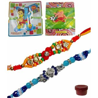 Eye-catching Set of 4 Kids  Bhaiya Rakhis