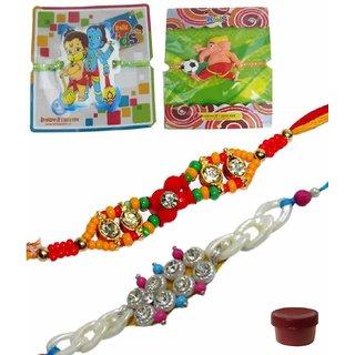Appealing Set of 4 Kids  Bhaiya Rakhis