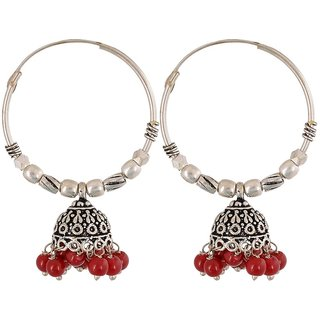 Pearl Jhumki Earring, Red Wedding Wear Earring For Women, Artificial Jewellery, Gift For Girl