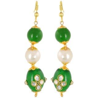 Pearl Dangle  Drop Earring, Green Office Wear Earring For Girl, Fusion Jewellery, Gift For Best Friend