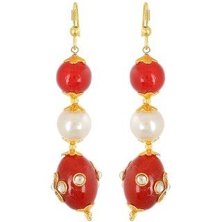 Pearl Dangle  Drop Earring, Maroon Party Wear Earring For Women, Artificial Jewellery, Gift For Women