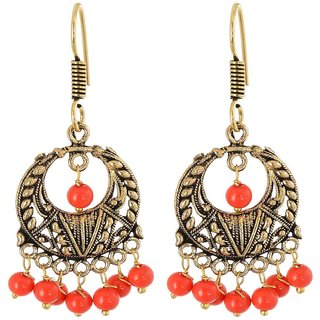 Pearl Dangle  Drop Earring, Orange Every Day Wear Earring For Women, Artificial Jewellery, Gift For Mother