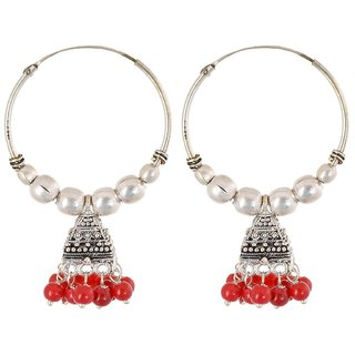 Pearl Jhumki Earring, Red Office Wear Earring For Girl, Fancy Jewellery, Gift For Best Friend
