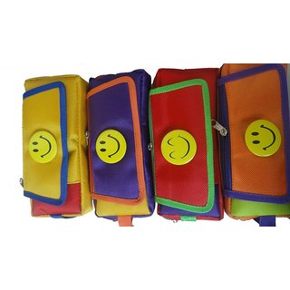 Birthday Return Gift Smiley With Three Chains And A Flap Art Cotton Pencil BoxesSet Of 10