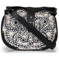 Pick Pocket Canvas PU Grey Sling Bag With Embroidery