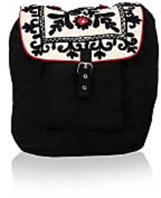 Pick Pocket black canvas backpack with floral embroidery on the flap