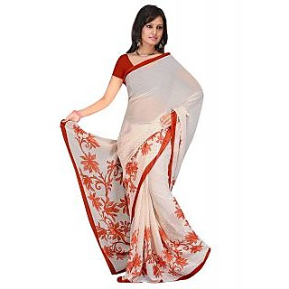Shopeezo Daily Wear White and Red Color Dani Georgette Saree/Sari