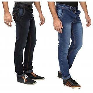 Wajbee Mens Blue and Black Regular Fit Stretchable Jeans-Pack of 2