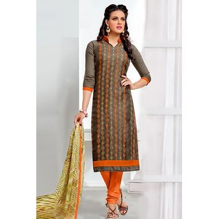 Sareemall Brown Chanderi Embroidered Salwar Suit Dress Material (Unstitched)